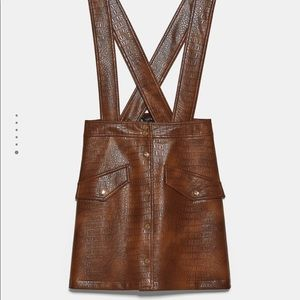 Zara Faux leather mini skirt with suspenders